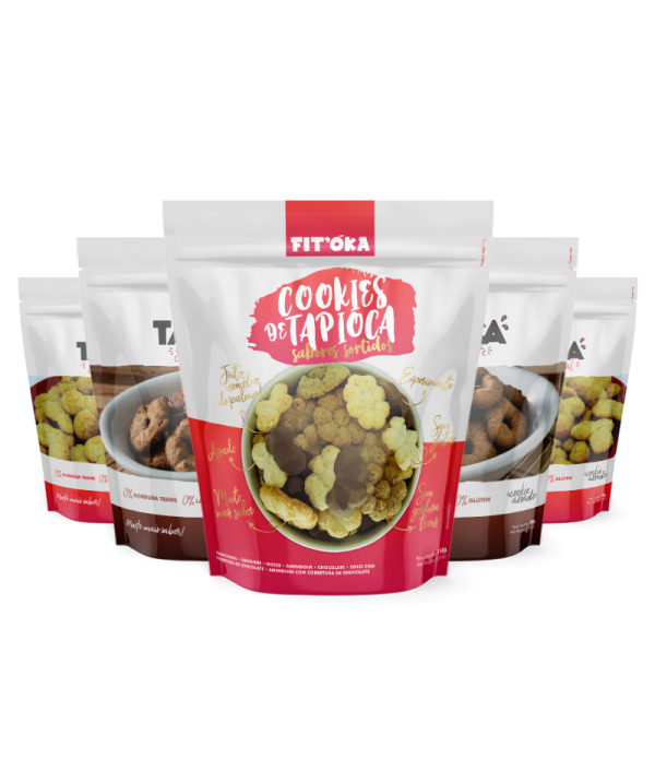 Kit Cookies de Tapioca - Sabores Chocolate, Tradic...